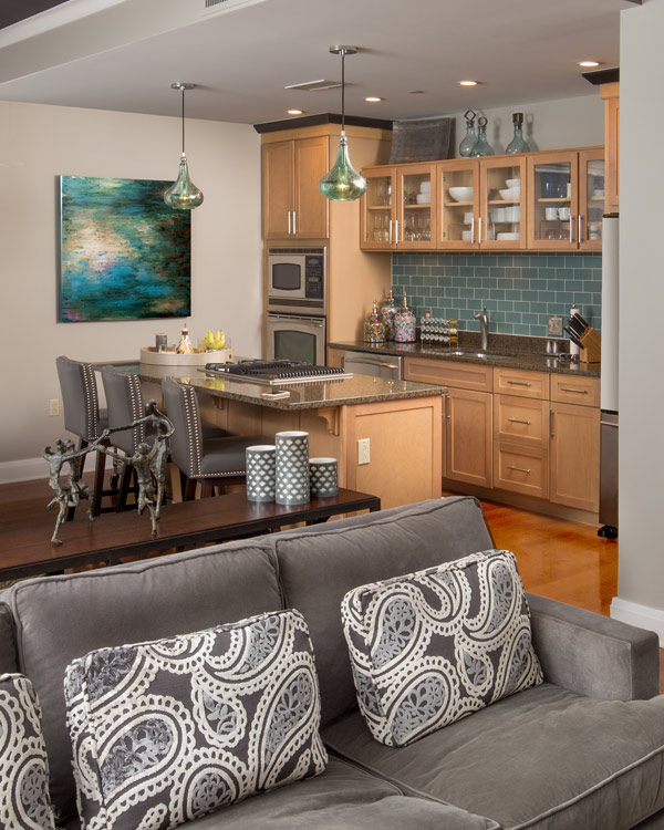 Beautiful living room and kitchen by full service interior design professional
